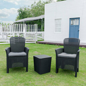 Garden Patio Furniture Sets Storage Table And 2 Arm Chairs W/ Backrest & Cushion