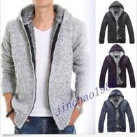 Fleece Jacket Men Full Zipper Hood Q3 Cardigan Hoodie Knitted Sweater Coat Vogue
