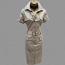Rare Karen Millen Beige Military Safari Trench Shirt Style Pencil Dress 12 UK