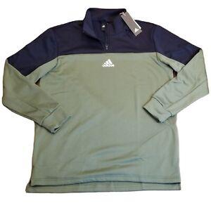 NEW Adidas Mens Aeroready 1/4 Zip Navy & Olive Green Center Logo XL GD0864 - $55
