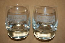 2 New KILBEGGAN Irish Whiskey Glasses World's Oldest Distillery Brand New