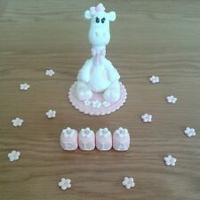 GIRAFFE CAKE TOPPER DECORATION GIRLS CHRISTENING/BIRTHDAY HANDMADE SUGARPASTE