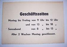 Pappschild Öffnungszeiten Geschäftszeiten 1950er 1960er DDR loft vintage deko