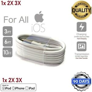 3ft,6ft,10ft Premium Cable For iPad 5,6, Pro,Air,Mini Charging Cord USB Charger