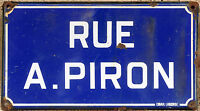 Old blue French enamel steel street sign road plaque name Alexis Piron Chalesmes
