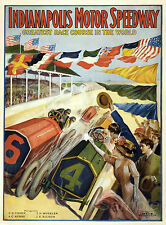 VINTAGE INDIANAPOLIS SPEEDWAY MOTOR RACING A2 POSTER PRINT