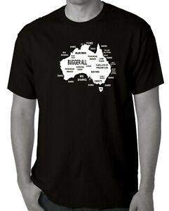 Australian map explain Aussie Straya funny fathers day tee t shirt small black