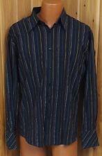 BEN SHERMAN Men's Long Sleeve Button-Up Shirt Size 3L Striped Black
