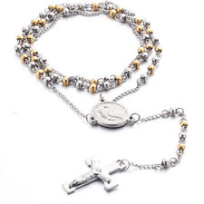 Gold Silver Chain Rosary Cross Stainless Steel Jesus 4mm Beads