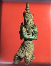 Thai Guardian Angel Thepanom Kneeling Figurine Statue Antique Old Amulet Women
