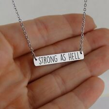 Strong As Hell Horizontal Bar Necklace - Stainless Steel - Strength Fight Tough