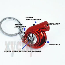 Red Rechargeable turbo keyring keychain with LED light and BOV sound Spinning