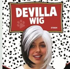 Cruella Wig Dalmations Fancy Dress Wig Ladies Halloween Costume Cute Deville