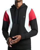 True Religion Men's Color Block Pullover Hoodie Sweatshirt in Black