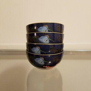 Williams Sonoma Lunar Koi Fish Rice Bowls Set of 4 NEW