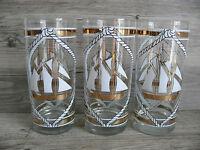 Six Edgar Watkins Nautical Sailboat Beverage Glasses Vtg Barware Gold Gilt Beach