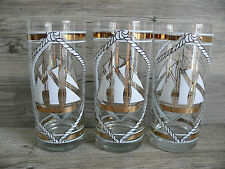 Six Vtg Edgar Watkins Nautical Sailboat Beverage Glasses Barware Gold Gilt Beach
