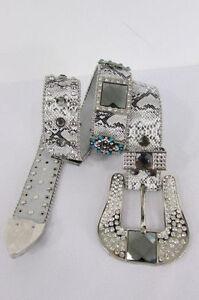 Women Belt Snake Print Leather Fashion Silver Metal Buckle Cross Mirror XS S M L