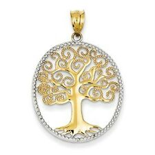 14K Yellow & White Gold Polished Filigree Tree of Life in Round Frame Pendant