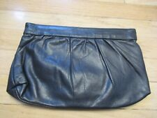 Vintage Ultra Soft Navy Leather Clutch Purse with Spring Hinged Closure & Frame