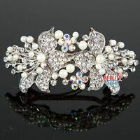 Womans New beautiful elegant wedding bridal barrette pearl & crystal hair clip