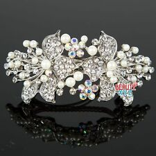 Womans New beautiful elegant wedding bridal barrette pearl & crystal hair clip