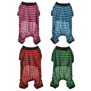 Pet Dog Pajamas Clothes Stripe Puppy Hoodie Jumpsuit Pajamas Coat Sleepingwear