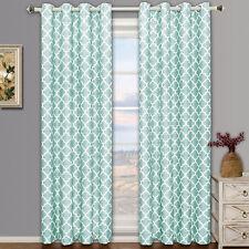Teal Meridian Room Darkening Grommet  Window Curtain Drapes Set of 2 Panels