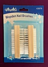 2 Wooden Nail Brush-Manicure-Pedicure-Scrubbing-Cleaning