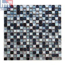 Pâte de Verre Candida Pierre Naturelle Carreaux Mosaique Bleu Noir Argent Bande