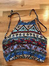 NWT Ladies UK2LA Multicolor Print Halter Top Size M