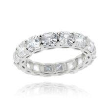 925 Silver Princess-Cut CZ Eternity Wedding Band Ring Size 9