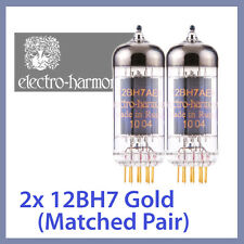 2x NEW Electro Harmonix 12BH7 EH Gold 12BH7A Vacuum Tubes, Matched Pair TESTED