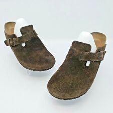 Birkenstock Boston Unisex Dark Green Suede Mules Clogs Sandals Size 38 US L7 M5