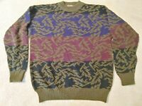 Vintage 90's John Ashford Wool Colorful Sweater Mens Size XL Made in Italy