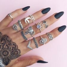 13Pcs/Set Vintage Silver Women Moon Elephant Knuckle Finger Ring Band Midi Rings