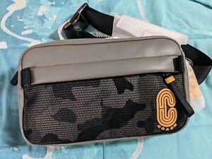 New COACH EDGE CROSSBODY BAG 2381 Mens Leather w/ Camo Print Black Multi $298
