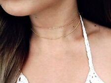 GOLD TONE DOUBLE PLAIN AND BEADS SHORT CHOKER NECKLACE - UK SELLER