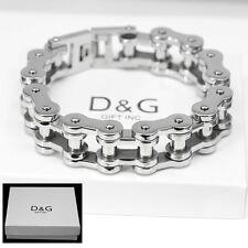 "DG Men's Silver Stainless-Steel 9"" Motorcycle Bike Chain Bracelet,Unisex..BOX"