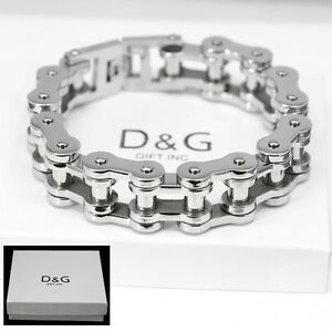 "DG Men's Silver Stainless-Steel 8.5"" Motorcycle Bike Chain 11mm Bracelet,BOX"