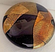 RANDY STRONG Art Glass Black & Gold Foil Paperweight Limited Edition Signed
