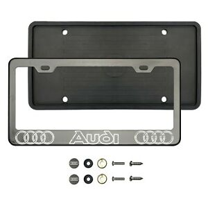 4udi 3d Laser Etched Black Chrome Stainless Steel License Frame Silicone Guard