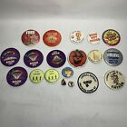 Vintage Button Lot Of 19 Disney, Marlboro, Marvel, Hippie Festival