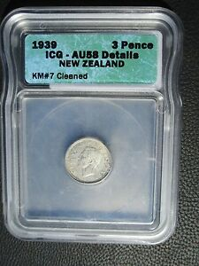 1939 New Zealand 3 Pence, ICG AU 58 - Cleaned