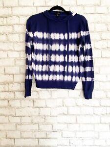 AQUA Navy Blue & White Tie Dye Hooded Knit Sweater Sz M NWT