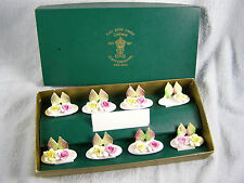 7 Bone China Pink & Yellow Rose Place Card Holders - Crown Staffordshire England