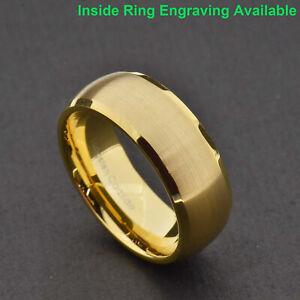 8mm Tungsten Gold Satin Dome Top Shiny Beveled Edge Men's Wedding Band