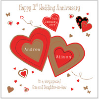 Personalised 1st First Wedding Anniversary Card Son Daughter in law