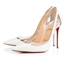 Christian Louboutin Cosmo 554 100 White Snow Patent Leather PVC Heel Pump 41