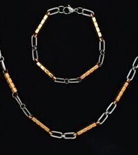 Men's 18K Gold Plated SS Two Toned Bee Hive Chain w/ Matching Bracelet